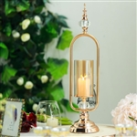 "22"" Tall Gold Hurricane Votive Metal Candle Holder With Glass Tube And 2 Diamond Crystals"