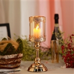 "13"" Tall Lace Design Gold Amber Hurricane Glass Candle Holder With Glass Tube"