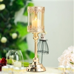 "15"" Tall Lace Design Gold Amber Hurricane Glass Candle Holder With Glass Tube"