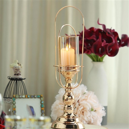 "15"" Gold Metal Coiled Design Glass Hurricane Candle Holder"