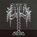 "15"" Gemcut Egyptian Handcrafted Glass Candle Holder with Crystal Chains - 1 PCS"