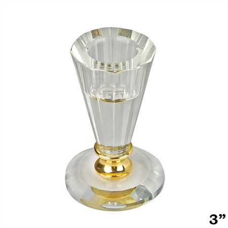 "3"" Gemcut Egyptian Handcrafted Glass Crystal Votive Candlestick Holder With Gold Metal Stem"