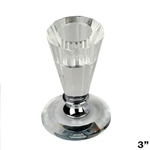 "3"" Gemcut Egyptian Handcrafted Glass Crystal Votive Candlestick Holder With Silver Metal Stem"