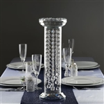 "18"" Gemcut Egyptian Handcrafted Glass Crystal Pillar Vase Chandelier Table Top Wedding Centerpiece"