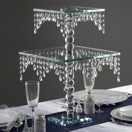 "21"" Gemcut Egyptian Handcrafted Glass Chandelier Crystal Wedding Cake Riser Stand"
