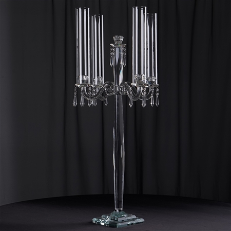 "35.5"" Tall Handcrafted 4 Arm Crystal Glass Tabletop Candelabra Baroque Candle Holder Centerpieces"