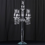 "40"" Handcrafted 5 Arm Crystal Glass Tabletop Taper Candle Holder Centerpieces"