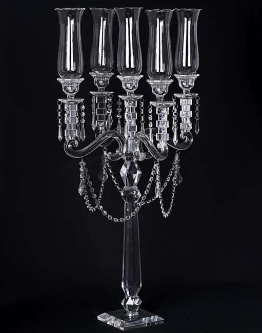 Buy 39 5 Arm Crystal Glass Tabletop Taper Candle Holder