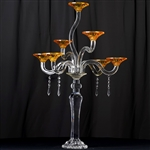 "33"" Handcrafted 7 Arm Dual Tone Crystal Glass Votive Candle Holder"