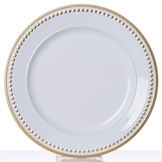 13  Round Gold Rim Crystal Beaded White Acrylic Charger Plates - Set ...  sc 1 st  RazaTrade & 13