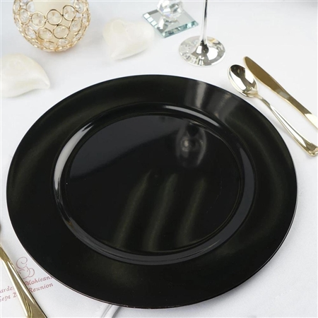 "13"" Black Round Acrylic Charger Plates - Set of 6"