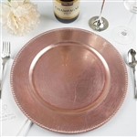 "13"" Rose Gold/Blush Beaded Charger Plate-Set of 6"