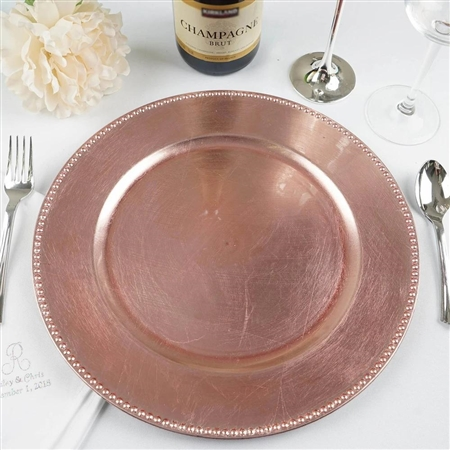 "13"" Blush/Rose Gold Round Acrylic Beaded Charger Plates - Set of 6"