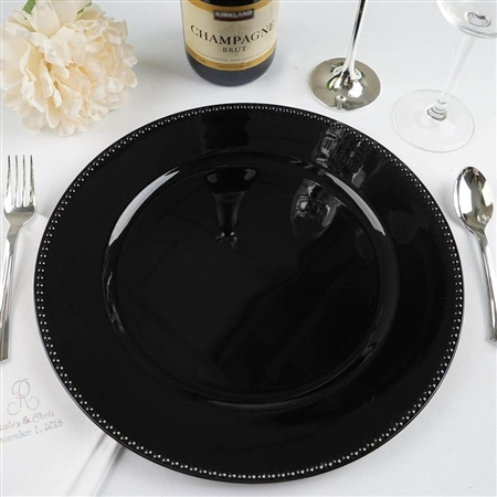 "13"" Black Round Acrylic Beaded Charger Plates - Set of 6"