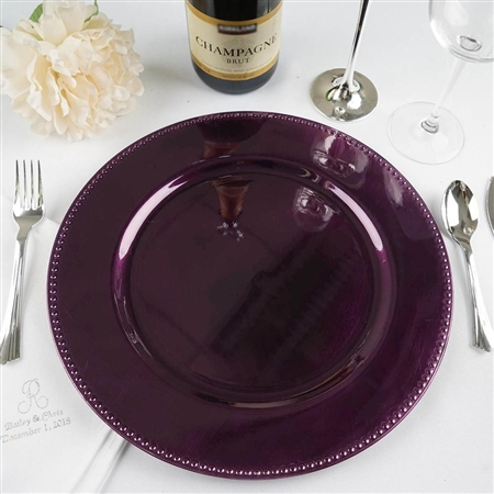 "13"" Eggplant Round Acrylic Beaded Charger Plates - Set of 6"