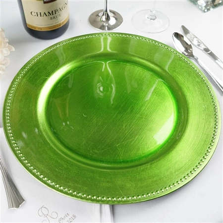 "13"" Lime Green Round Acrylic Beaded Charger Plates - Set of 6"