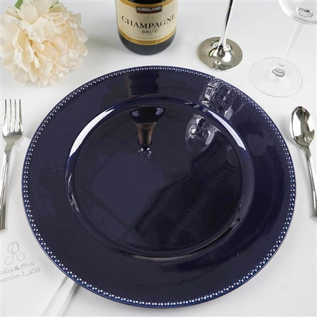 "13"" Navy Blue Round Acrylic Beaded Charger Plates - Set of 6"