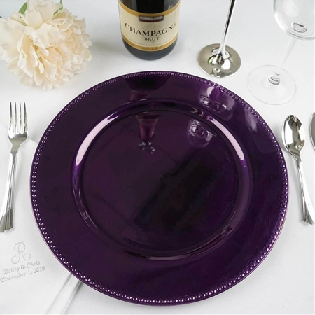 "13"" Purple Round Acrylic Beaded Charger Plates - Set of 6"