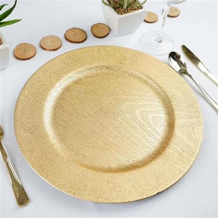 "13"" Gold Round Wooden Textured Acrylic Charger Plates - Set of 6"