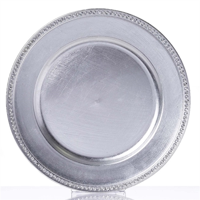 Round 13  Silver Crystal Beaded Acrylic Charger Plates Party Dinner Servers - Pack ...  sc 1 st  RazaTrade & Buy Round 13