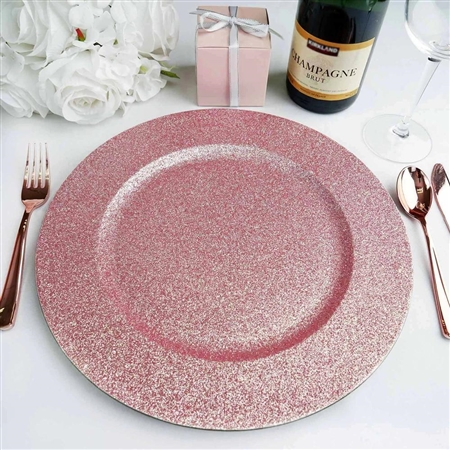 "13"" Blush/Rose Gold Round Glitter Acrylic Plastic Charger Plates - Set of 6"