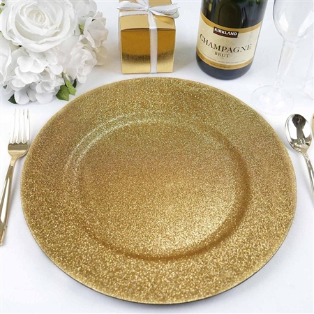 "13"" Gold Round Glitter Acrylic Plastic Charger Plates - Set of 6"