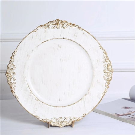 "13"" White Round Baroque Charger Plates with Leaf Embossed Antique Gold Rim - Set of 6"