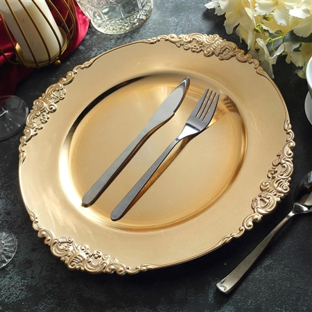 "13"" Gold Round Baroque Charger Plates with Leaf Embossed Rim - Set of 6"