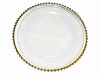"13"" See Thru Glass Charger Plate (Modern) - Gold Rim Set of 8"