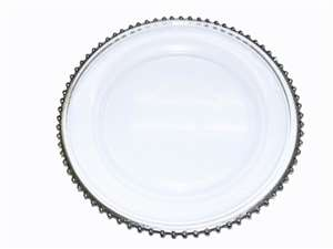 "13"" See Thru Glass Charger Plate (Modern) - Silver Rim Set of 8"
