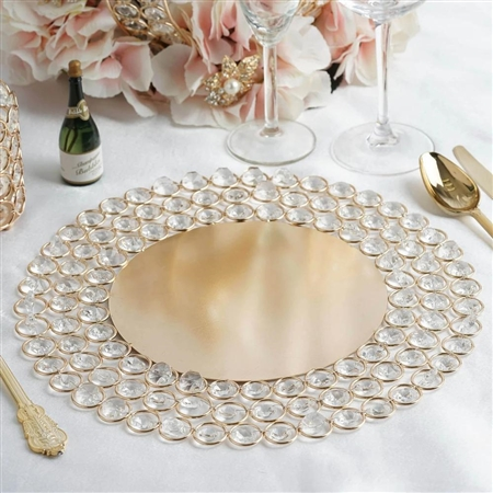 "14"" Wired Metal Charger Plate with 118 Acrylic Crystal Beads - Gold"