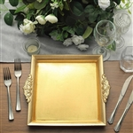"10"" Gold Square Decorative Acrylic Serving Trays with Embossed Rims - Set of 2"
