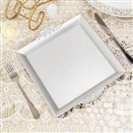 "10"" Silver Square Decorative Acrylic Serving Trays with Embossed Rims - Set of 2"