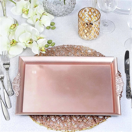 "14"" x 10"" Blush/Rose Gold Rectangle Decorative Acrylic Serving Trays with Embossed Rims - Set of 2"