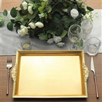 "14"" x 10"" Gold Rectangle Decorative Acrylic Serving Trays with Embossed Rims - Set of 2"