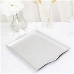 "14"" x 10"" Silver Rectangle Decorative Acrylic Serving Trays with Embossed Rims - Set of 2"