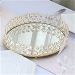 "14"" x 10"" Gold Metal Oval Crystal Beaded Mirrored Decorative Serving Tray"