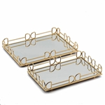 Gold Metal Rectangle Mirrored Decorative Serving Trays - Set of 2