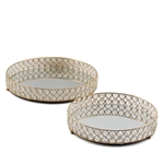 Gold Metal Round Mirrored Crystal Beaded Decorative Serving Trays - Set of 2