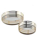 Gold Metal Round Mirrored Decorative Serving Trays - Set of 2