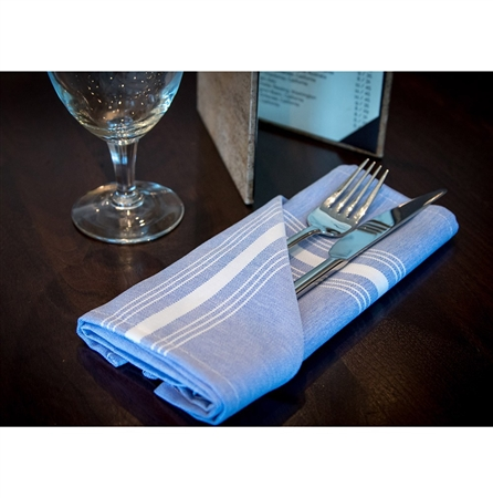 "18"" x 22"" Signature Chambray Bistro Napkin - Blue with White Stripe - 12-Pack"