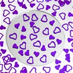 Metallic Foil Wedding-Party Heart Confetti - 300 PCS- Purple