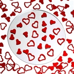 Metallic Foil Wedding-Party Heart Confetti - 300 PCS- Red