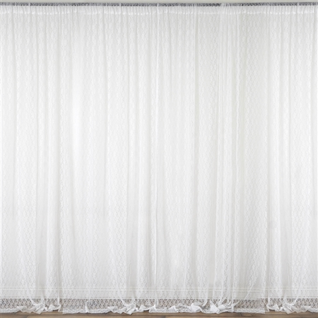 5ft x 10ft Fire Retardant Sheer Floral Lace Premium Curtain Panel Backdrops - Ivory - Set Of 2