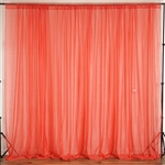 10ft x 10ft Fire Retardant Sheer Voil Premium Curtain Panel Backdrops - Coral