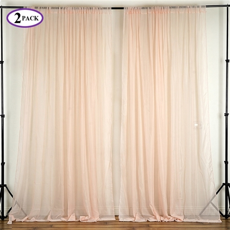 5ft x 10ft Fire Retardant Sheer Organza Premium Curtain Panel Backdrops - Blush - Set Of 2