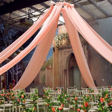 20ft Premium Blush Fire Retardant Sheer Voile Curtain Ceiling Panel Backdrop