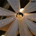 20ft Premium White Fire Retardant Sheer Voile Curtain Ceiling Panel Backdrop