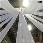 30ft Premium White Fire Retardant Sheer Voile Curtain Ceiling Panel Backdrop