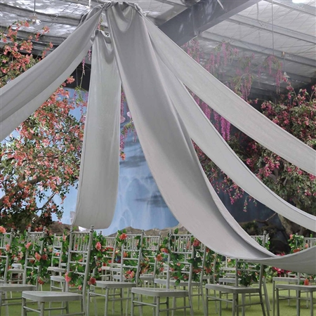 40ft Premium Silver Fire Retardant Sheer Voile Curtain Ceiling Panel Backdrop